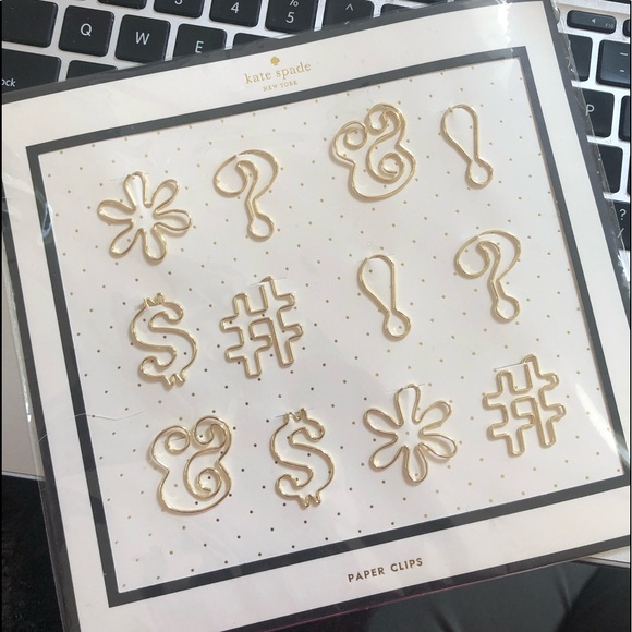 Kate Spade Expletive Paper Clips 12 Gold NWT